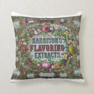 Vintage Flowery Advertisement Pillow
