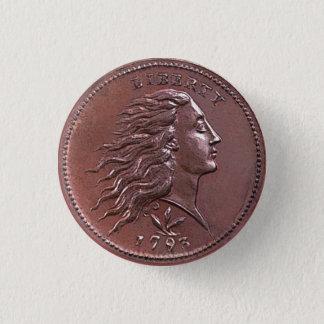 Vintage Flowing Hair Large Cent Button
