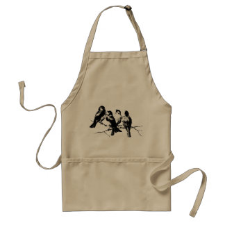 Vintage Fluffy Birds on Branches Adult Apron
