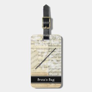 Vintage Flute Music Luggage Tag