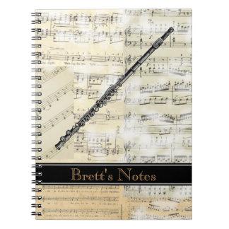 Vintage Flute Music Spiral Notebook