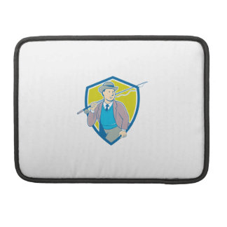 Vintage Fly Fisherman Bowler Hat Shield Cartoon Sleeve For MacBook Pro