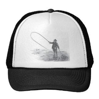 Vintage Fly Fishing Art Baseball Cap Trucker Hat