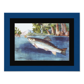 Vintage Fly Fishing art Card