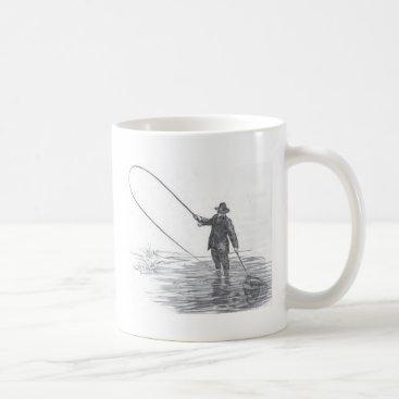 Coffee Themed Vintage Fly Fishing Art Coffee Mug
