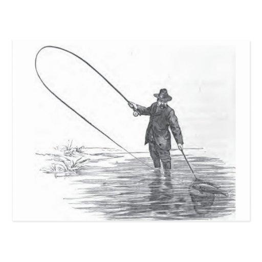 Vintage Fly Fishing Art Postcard