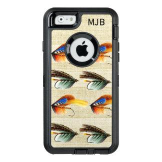 Vintage Fly Fishing Flies Monogrammed Premium OtterBox Defender iPhone Case