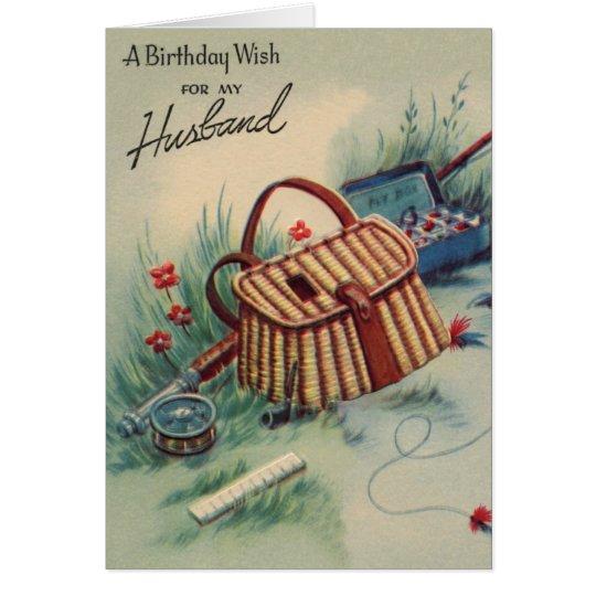 Vintage Fly Fishing Husband Birthday Card