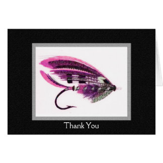 """Vintage Fly fishing lure """"Thank you"""" card"""
