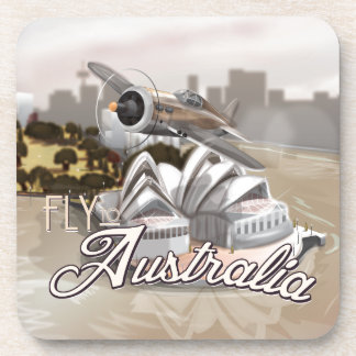Vintage Fly To Australia Beverage Coaster