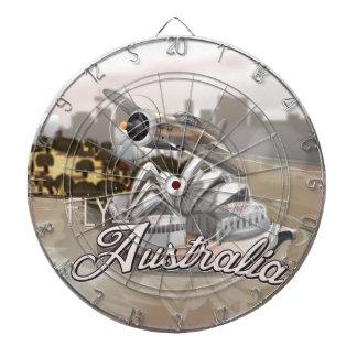 Vintage Fly To Australia Dart Board