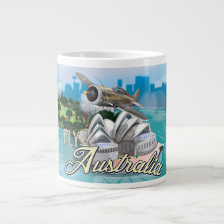 Vintage Fly to Australia Travel Poster Giant Coffee Mug