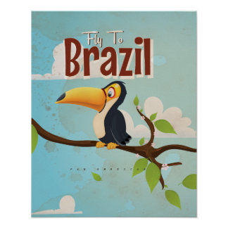 Vintage fly to Brazil Toucan Travel Poster