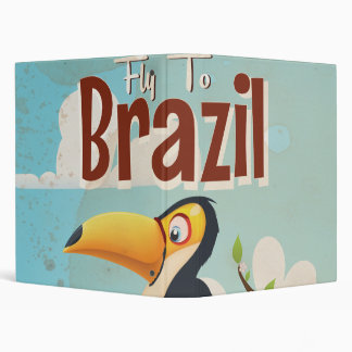 Vintage fly to Brazil Toucan Travel Poster 3 Ring Binder