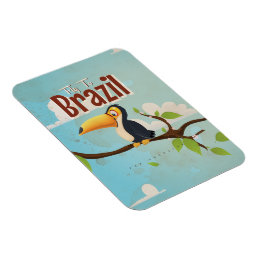 Vintage fly to Brazil Toucan Travel Poster Magnet
