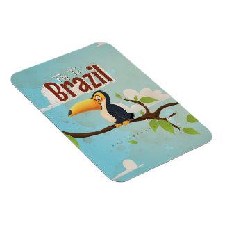 Vintage fly to Brazil Toucan Travel Poster Rectangular Photo Magnet