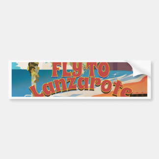 Vintage Fly To Lanzarote Travel Poster Bumper Sticker
