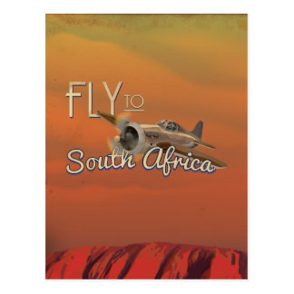 Vintage Fly to South Africa Travel Poster Postcard
