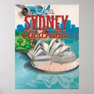 Vintage Fly to Sydney,Australia Travel Poster