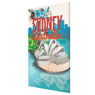 Vintage Fly to Sydney,Australia Travel Poster Canvas Print