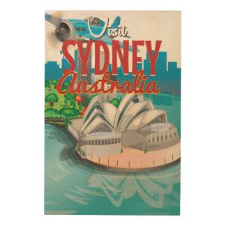 Vintage Fly to Sydney,Australia Travel Poster Wood Print