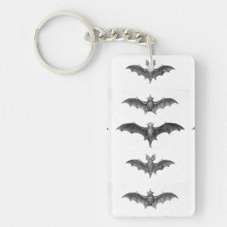 Vintage Flying Bats Gothic Horror Key Ring Double-Sided Rectangular Acrylic Keychain