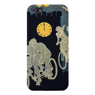 Vintage Flying Bicyclists Castle Gray Blue Black Case For iPhone SE/5/5s