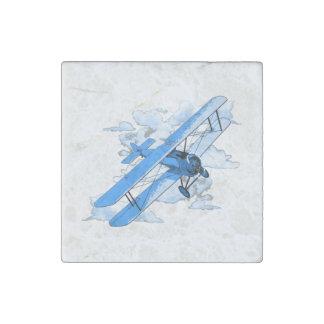 Vintage Flying Biplane Stone Magnet