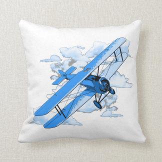 Vintage Flying Biplane Throw Pillow