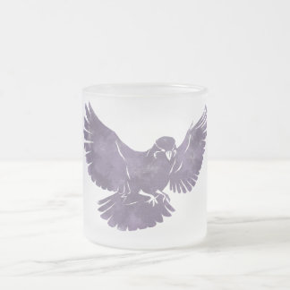 Vintage Flying Bird Frosted Glass Coffee Mug