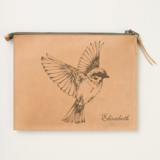 Vintage Flying Bird Illustration Travel Pouch