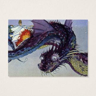 Vintage Flying Dragon Mythical Illustration Business Card