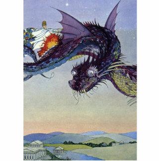 Vintage Flying Dragon Mythical Illustration Cutout