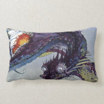 Vintage Flying Dragon Mythical Illustration Pillow