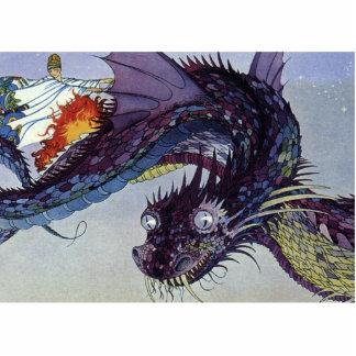 Vintage Flying Dragon Mythical Illustration Statuette