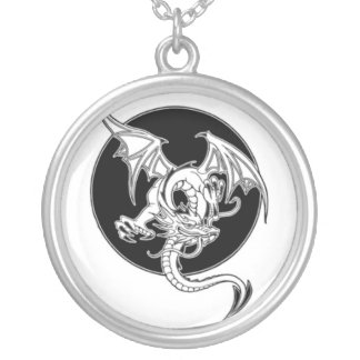VINTAGE FLYING DRAGON TATTOO ART PRINT SILVER PLATED NECKLACE