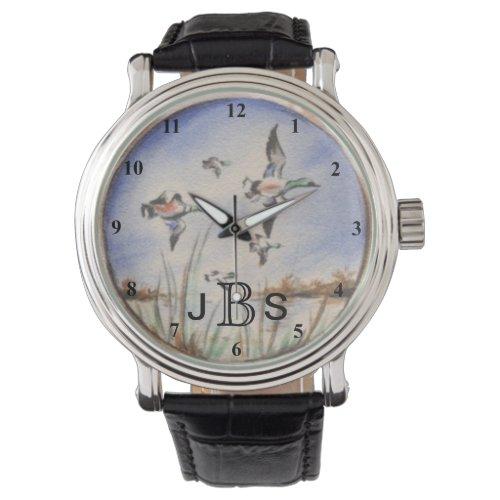 Vintage Flying Ducks  Masculine Monogram Wrist Watch