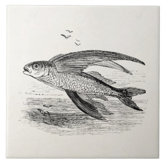 Vintage Flying Fish Antique Personalized Template Ceramic Tile