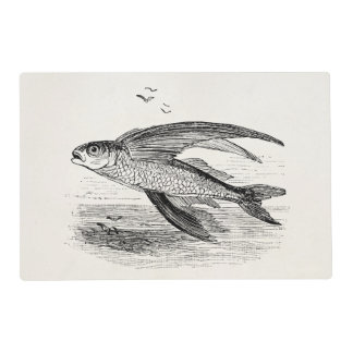 Vintage Flying Fish Antique Personalized Template Laminated Place Mat