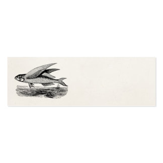 Vintage Flying Fish - Aquatic Fishes Template Business Card Template
