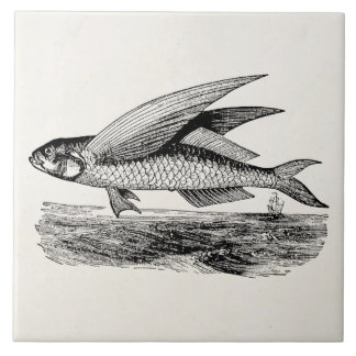 Vintage Flying Fish - Aquatic Fishes Template Ceramic Tile