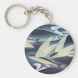 Vintage Flying Fish in Blue Ocean, Aquatic Animals Basic Round Button Keychain
