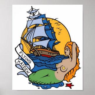 Vintage Flying Maiden Mermaid, Ship Tattoo Art Posters