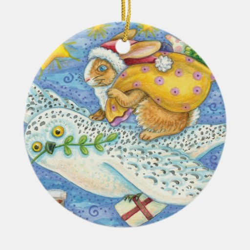 Vintage Flying Owl and Rabbit Christmas Ornament