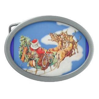 Vintage Flying Santa Oval Belt Buckle