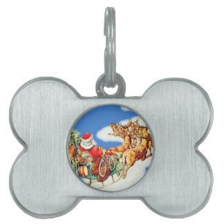 Vintage Flying Santa Pet ID Tag