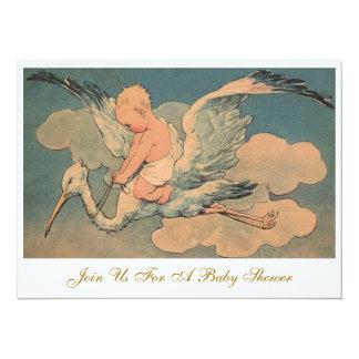 Vintage Flying Stork and Infant Gender Baby Shower 5.5x7.5 Paper Invitation Card
