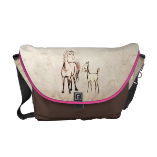 Vintage Foal with Flower Courier Bag