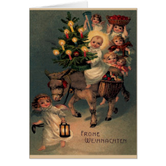 "Vintage folding map ""glad Christmas "" Greeting Card"
