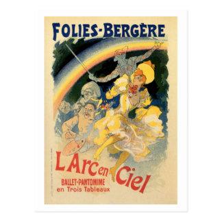 Vintage Folies Bergère rainbow ballet Postcard